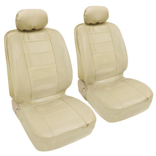BDK Premium Faux Leather 4-piece Front Car Seat Covers - Beige