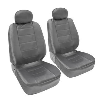 BDK Premium Grey PU Leather 4-piece Front Car Seat Covers