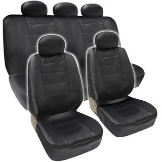 BDK Premium Faux Leather Full Set Car Seat Covers  - Black