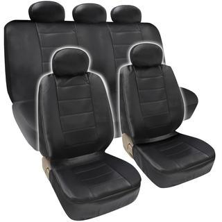 BDK Premium Faux Leather Full Set Car Seat Covers - Black