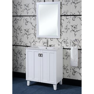 White 30 Inch Single Sink Bathroom Vanity With Matching Framed Wall Mirror
