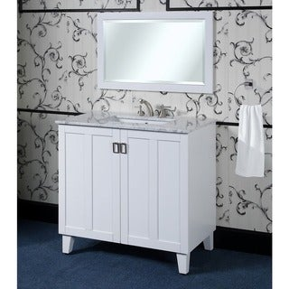 White 36-inch Carrara White Marble Top Single Sink Bathroom Vanity with Matching Framed Wall Mirror