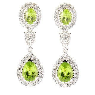Sterling Silver Peridot and White Topaz Dangle Earrings