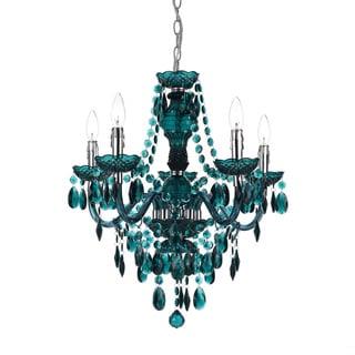 angelo:HOME Dark Green Faux Crystal Chandelier