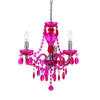Buy plastic chandeliers online at overstock our best lighting angelohome hot pink faux crystal 3 light 5 light swag plug aloadofball Images