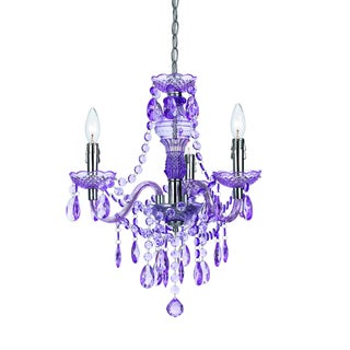 angelo:HOME Purple Faux Crystal 3-light/ 5-light Swag Plug-in Chandelier