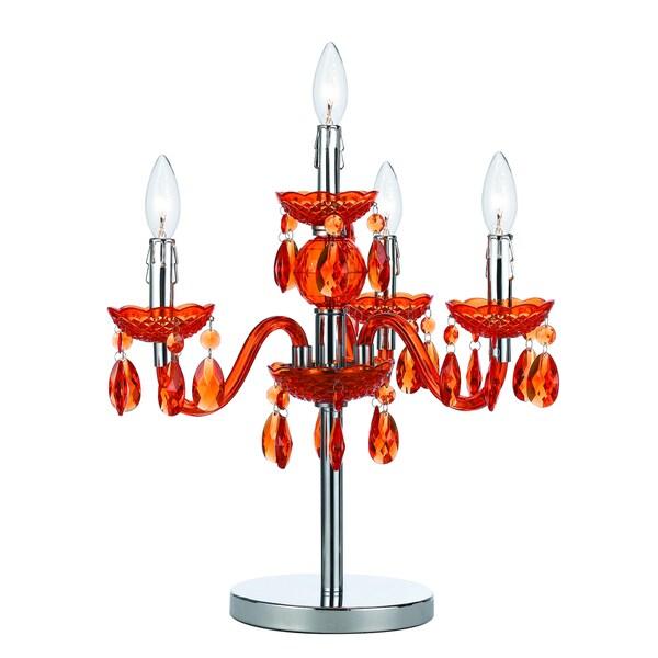 angelo:HOME Orange Faux Crystal Candelabra Table Lamp