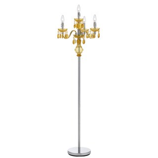 Angelo Home 4-light Gold Faux Crystal Candelabra Floor Lamp