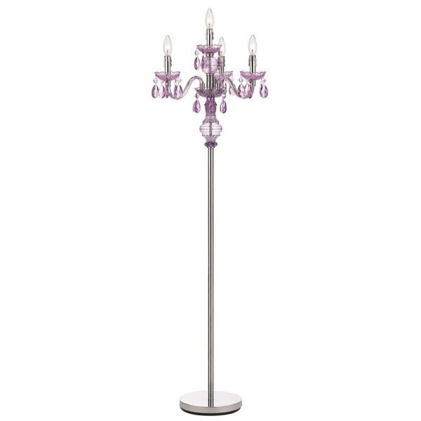 Angelo home 4 light purple faux crystal candelabra floor for 5 light floor lamp purple