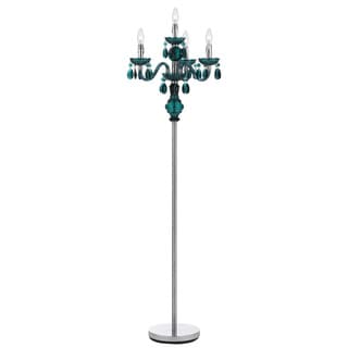 Angelo Home 4-light Dark Green Faux Crystal Candelabra Floor Lamp
