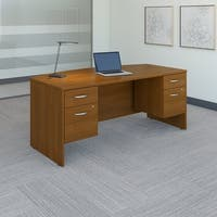 Bush Business Furniture Series C 72W Bow Front Desk with Pedestals