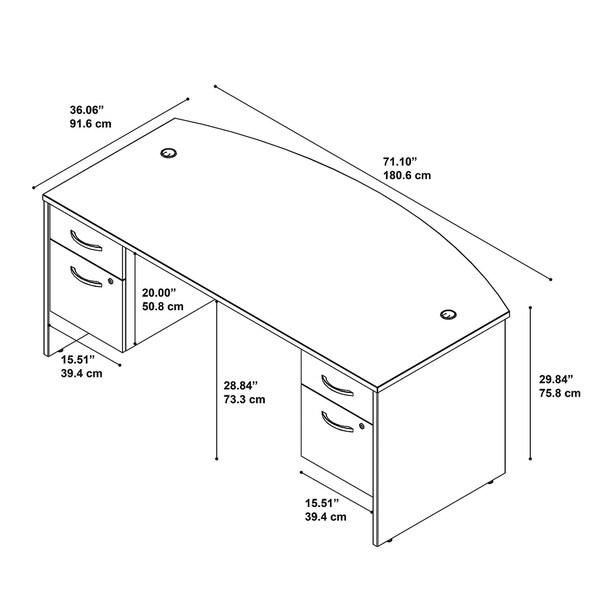Bush Business Furniture Series C 72W Bow Front Desk with Pedestals