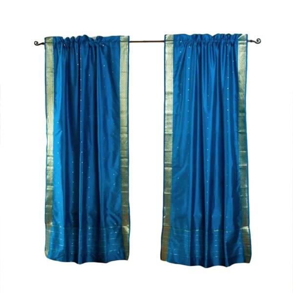 Handmade Turquoise 96-inch Sheer Sari Curtain Pair (India)