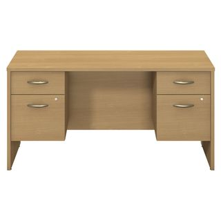 BBF Series C Collection 60 x 24 Credenza Shell with Two 3/4 Pedestals