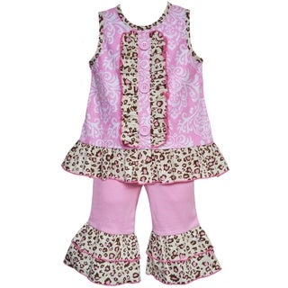 AnnLoren Boutique Girls Pink Damask and Leopard Tunic with Capris (2-piece Outfit)