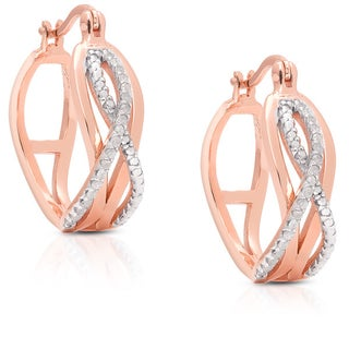 Finesque Gold over Sterling Silver 1/5ct TDW Diamond Infinity Design Hoop Earrings (3 options available)