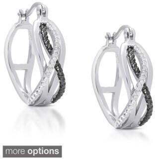 Finesque Gold over Sterling Silver 1/5ct TDW Diamond Infinity Design Hoop Earrings