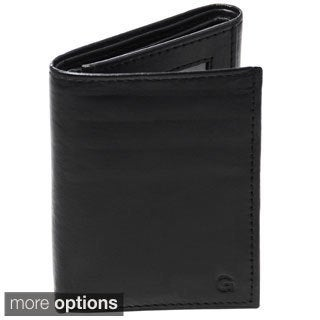 Personalized Black Oxford Genuine Leather Tri-fold Wallet