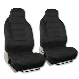 BDK Universal Fit 2-piece Scottsdale Fabric High Back Bucket Seat Deluxe Front Car Seat Covers (Option: Black)