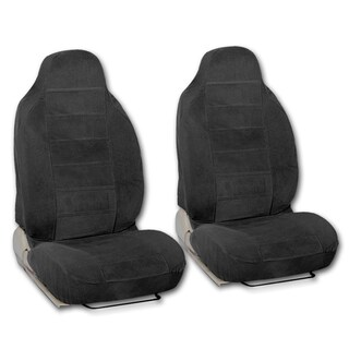 BDK Universal Fit 2-piece Encore Fabric High Back Bucket Seat Deluxe Front Car Seat Covers (Option: Black)
