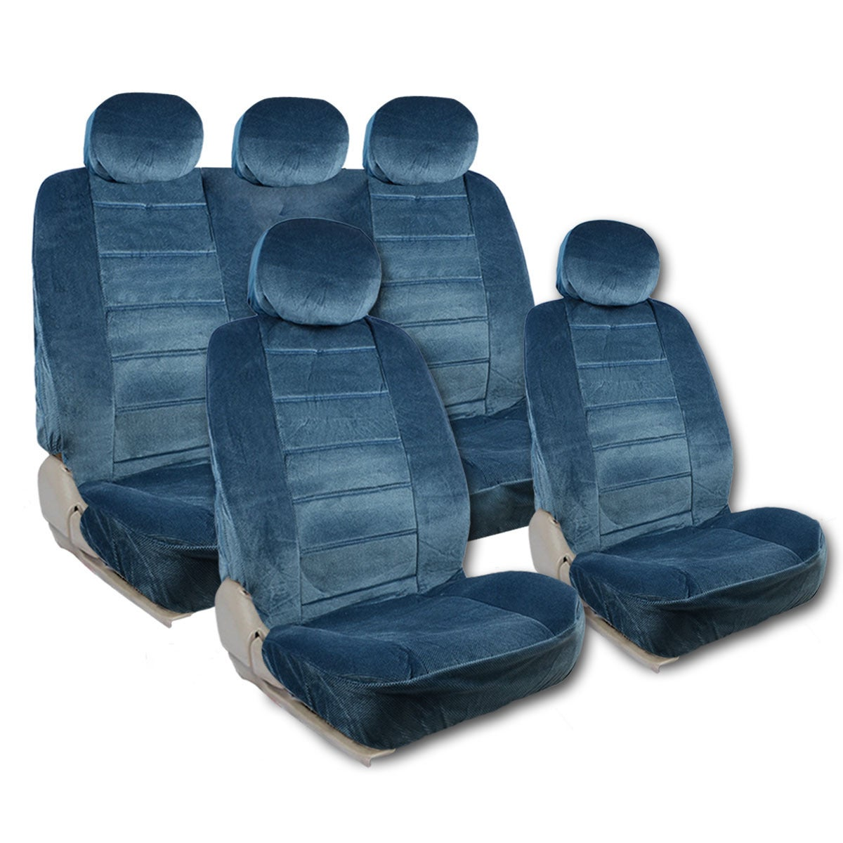 9pc Universal Car Seat Cover Full Set Air Bag Safe Headrests Blue Red Grey
