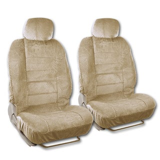 BDK Universal Fit 4-piece Scottsdale Fabric Low Back Deluxe Front Car Seat Covers (Option: Beige)