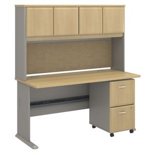 BBF Series A Collection 60 x 27 Desk with Hutch with 2-drawer Mobile Pedestals