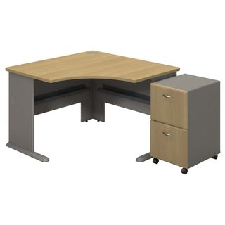 BBF Series A Collection Corner Desk with 2-drawer Mobile Pedestals
