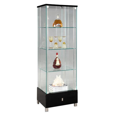 Somette Modern Black Gloss Glass Curio