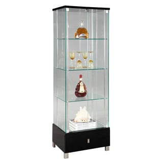 Somette Modern Black Gloss Glass Curio