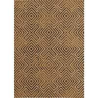Loft New City Geometric Design Tan/ Black Polypropylene Rug (5'3 x 7'4) - 5'3 x 7'4