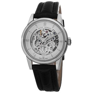 Revue Thommen Women's 12010.2532 'Specialities' Silver Open Dial Black Leather Strap Watch
