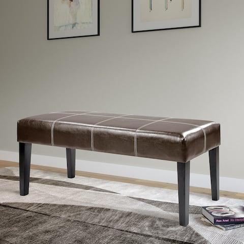 Copper Grove Krk 47-inch Bench in Dark Brown Bonded Leather