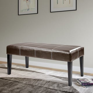 CorLiving Antonio 47-inch Bench in Dark Brown Bonded Leather