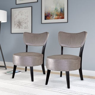 CorLiving Antonio Accent Chair in Grey Velvet (Set of 2)