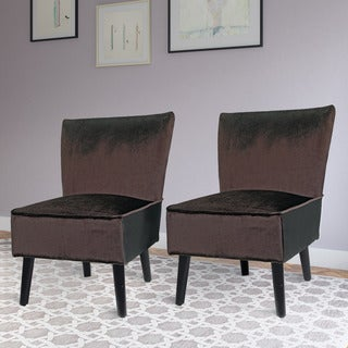 CorLiving Antonio Lounge Chair in Deep Brown Velvet (Set of 2)