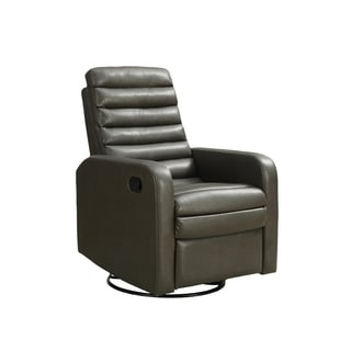 Bonded Leather Grey Swivel Glider Recliner