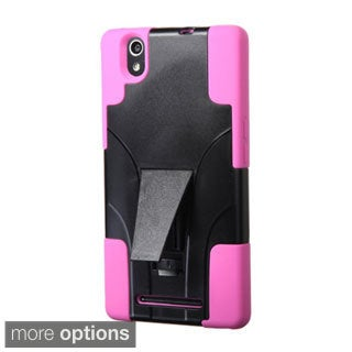 INSTEN Dual Layer Hybrid Stand Rubberized Hard Plastic PC/ Silicone Phone Case Cover For ZTE ZMax
