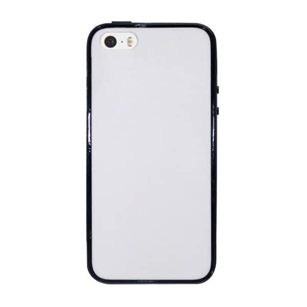 INSTEN White/ Black Plain Hard PC TPU Rubber Bumper Phone Case Cover