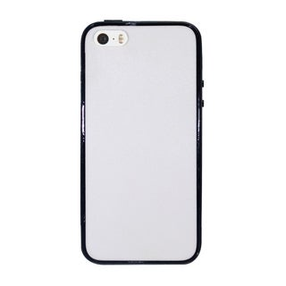 INSTEN White/ Black Plain Hard PC TPU Rubber Bumper Phone Case Cover For Apple iPhone 5/ 5S/ SE