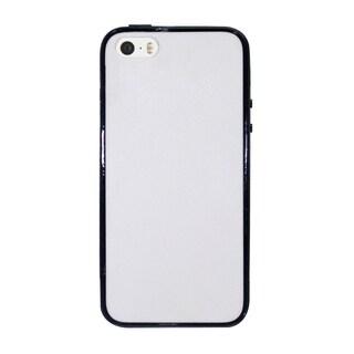 INSTEN White/ Black Plain Hard PC TPU Rubber Bumper Phone Case Cover For Apple iPhone 5/ 5S/ SE