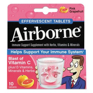 Airborne Immune Support Effervescent Tablet Pink Grapefruit 10 Count