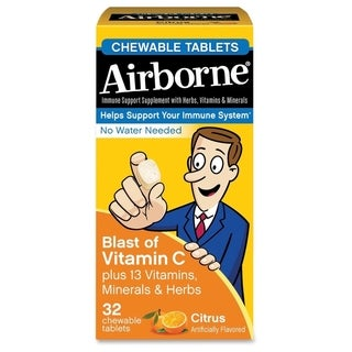 Airborne Immune Support Chewable Tablet Citrus 32 Count