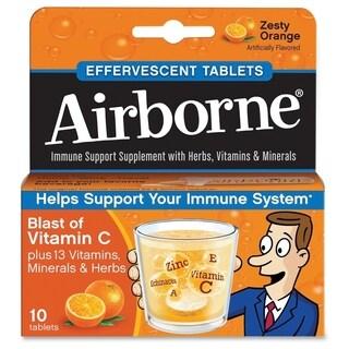 Airborne Immune Support Effervescent Tablet Orange 10 Count