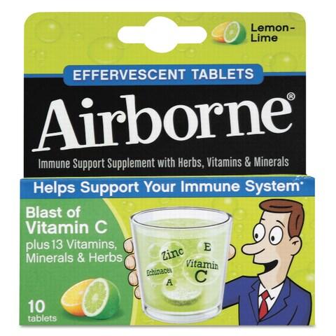 Airborne Immune Support Effervescent Lemon/ Lime Tablets 10 Count