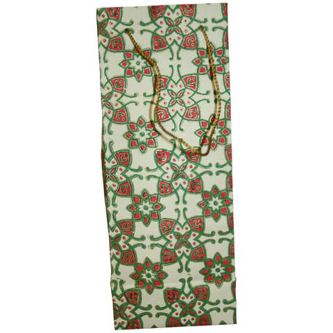 Set of 2 Handmade Elements Recycled Cotton Wine Gift Bags (India)