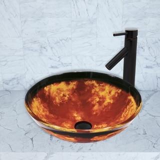 VIGO Auburn/Mocha Fusion Glass Vessel Sink and Dior Faucet Set in Antique Rubbed Bronze Finish