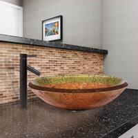 VIGO Janus Glass Vessel Sink  and Dior Faucet Set in Antique Rubbed Bronze Finish
