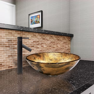 VIGO Copper Shapes Glass Vessel Sink  and Dior Faucet Set in Antique Rubbed Bronze Finish