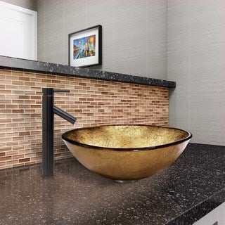 VIGO Liquid Gold Glass Vessel Sink and Dior Faucet Set in Antique Rubbed Bronze Finish